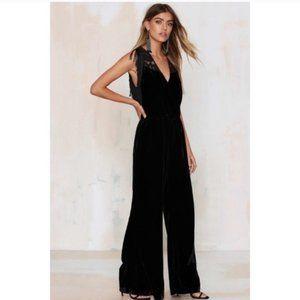 REVOLVE Black Velvet Jumpsuit w/ Fringe